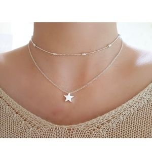 Jewelry - 4 for $20 Layered Star Choker Necklace (Silver)